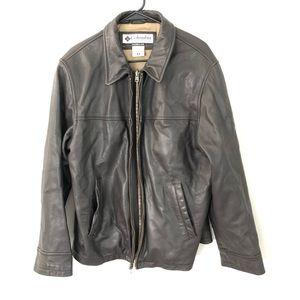 Columbia mens genuine leather zip up jacket